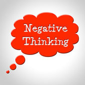 Negative Thinking Bubble Shows Concept Plan And Refusal — Stock Photo