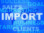Import Words Represents Buy Abroad And Cargo — Stock Photo
