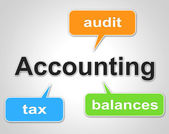 Accounting Words Indicates Balancing The Books And Accountant — Stock Photo