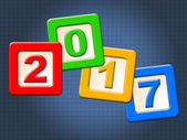 Twenty Seventeen Blocks Represents New Year And Annual — Stock Photo