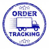 Order Tracking Stamp Means Logistics Trackable And Shipping — Stock Photo