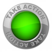 Take Action Button Shows Active Knob And Activism — Stock Photo