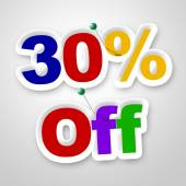 Thirty Percent Off Means Merchandise Sale And Promotion — Stock Photo