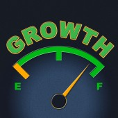 Growth Gauge Indicates Meter Scale And Indicator — Stock Photo