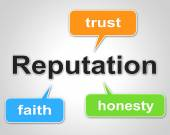 Reputation Words Shows Believe In And Faith — Stock Photo