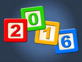 Twenty Sixteen Blocks Indicates Happy New Year And Kids — Stock Photo