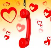 Romantic Call Represents Conversation Fondness And Discussion — Foto de Stock