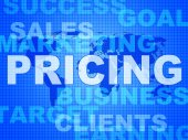 Pricing Words Means Money Outlay And Finances — Stock Photo