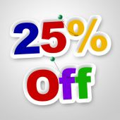 Twenty Five Percent Represents Sale Promotion And Promotional — Stock Photo