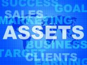 Assets Words Shows Wealth Valuables And Goods — Stock Photo