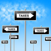 Taxes Sign Shows Corporation Trade And Corporate — Foto Stock