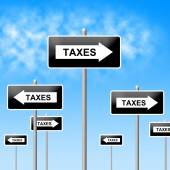 Taxes Sign Shows Corporation Trade And Corporate — Foto de Stock