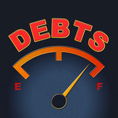 Debts Gauge Means Display Finance And Meter — Stock Photo