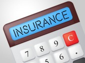 Insurance Calculator Shows Calculate Contract And Covered — Stock Photo