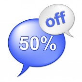Fifty Percent Off Shows Merchandise Cheap And Promotion — Stock Photo