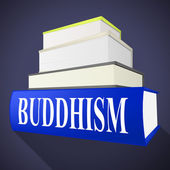 Buddhism Book Shows Spirit Pray And Fiction — Foto Stock