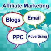 Affiliate Marketing Represents Join Forces And Associate — Stock Photo
