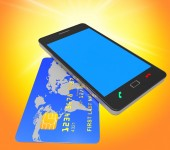 Credit Card Online Means World Wide Web And Banking — Stock Photo