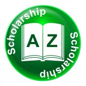 Scholarship Badge Means Diploma Educational And Academic — Stock Photo
