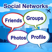 Social Networks Words Shows Blogging Blogs And Internet — Stock Photo
