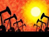 Oil Wells Means Industrial Nonrenewable And Extract — Stock Photo