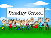 Sunday School Banner Indicates Youths Child And Faith — Stock Photo