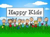Happy Kids Banner Represents Jubilant Happiness And Child — Stock Photo