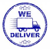 We Deliver Stamp Shows Transportation Delivery And Post — Stock Photo