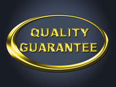 Quality Guarantee Sign Shows Guaranteed Placard And Check — Stock Photo