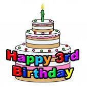 Happy Third Birthday Represents Celebrate Celebration And Celebrating — Stock Photo