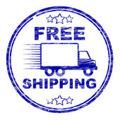 Free Shipping Stamp Represents For Nothing And Complimentary — Stock Photo