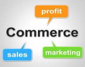 Commerce Words Shows Export Commercial And Buying — Stock Photo