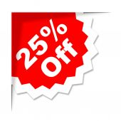 Twenty Five Percent Means Offer Savings And Promotional — Stock Photo