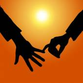 Holding Hands Shows Tenderness Together And Fondness — Foto de Stock