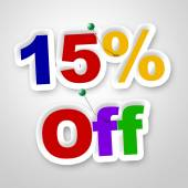 Fifteen Percent Off Represents Offer Promotional And Promo — Stock Photo