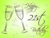 Happy Twenty First Indicates Birthday Party And Celebrate — Stock Photo