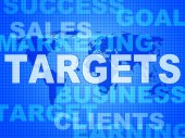 Targets Words Represents Projection Business And Aiming — Stock Photo