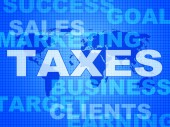 Taxes Words Shows Duty Company And Excise — Stock Photo