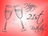 Happy Twenty First Indicates Celebrations Parties And Congratulating — Stock Photo