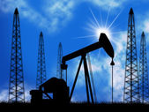 Oil Wells Means Power Source And Drill — Stock Photo