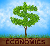 Economics Tree Indicates American Dollars And Branch — Stock Photo