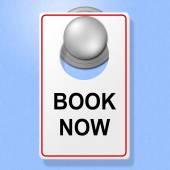 Book Now Sign Represents Double Room And Accommodation — Stock Photo