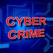 Cyber Crime Sign Shows Theft Spyware And Security — Stock Photo