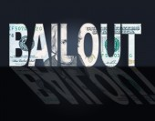 Bailout Dollars Means United States And Bailing — Stock Photo