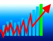 Graph Increasing Means Statistics Infochart And Investment — Stock Photo