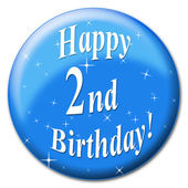 Happy Second Birthday Indicates Happiness Congratulation And Party — Stock Photo