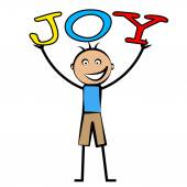 Joy Kids Means Positive Cheerful And Child — Stock Photo