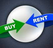 Buy Rent Arrows Indicates Lease Buyer And Purchase — Stock Photo
