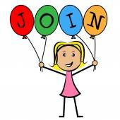 Join Balloons Indicates Sign Up And Kids — Stock Photo