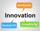 Innovation Words Shows Investigate Researcher And Investigation — Stock Photo